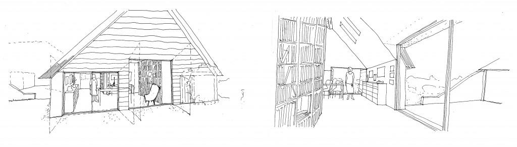 schetsen atelier tuinkamer