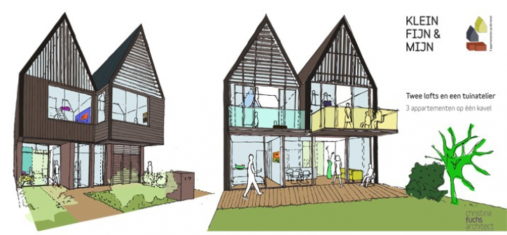 twee lofts en een tuinatelier, drie appartementen op één kavel. nieuwbouw