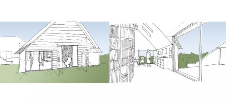 verbouwing tot atelier tuinkamer en verbinding met woonhuis
