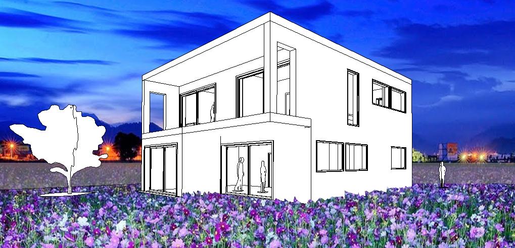 nacht perspectief zelfbouw woonhuis
