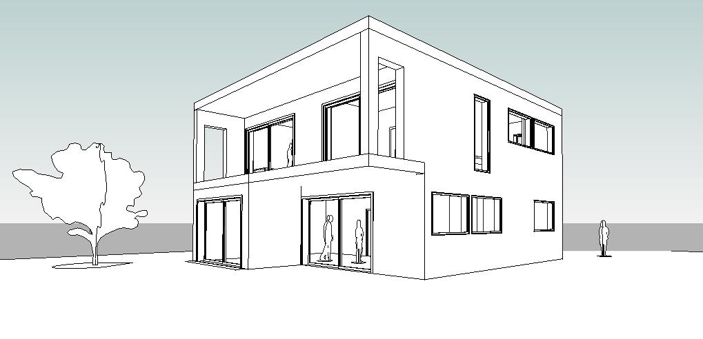 3D schets van woonhuis  zonder bewerking