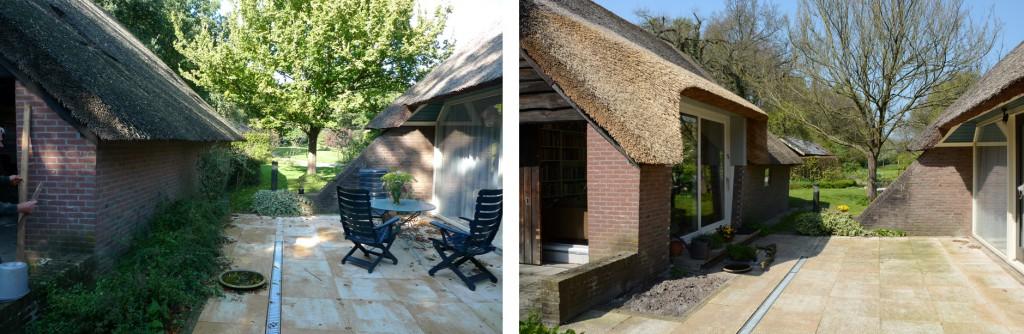 Tuinkamer en woonkamer terras voor en na