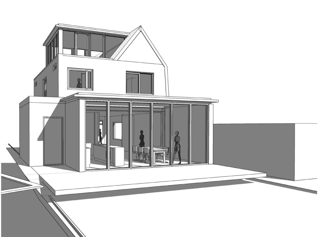 daklijn hersteld, nieuw dakopbouw en uitbouw in tuin